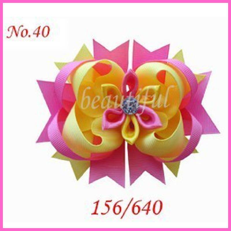 50 шт. лента 4,5 романтические волосы луки шестигранного ядра с аллигатором клип девушка аксессуары для волос Розничная оптом