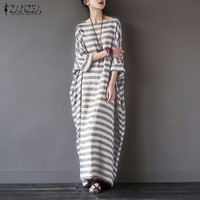 Women Striped Print Autumn Dress 2016 ZANZEA Casual Loose O Neck Batwing Sleeve Maxi Long Dresses
