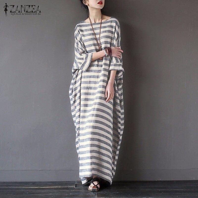 Women Striped Print Autumn Dress 2016 ZANZEA Casual Loose O Neck Batwing Sleeve Maxi Long Dresses