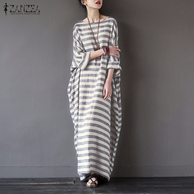 ZANZEA Women Striped Printed Dress 2017 Autumn Casual Loose O Neck Batwing Sleeve Maxi Long Dress Vestidos Plus Size S-5XL