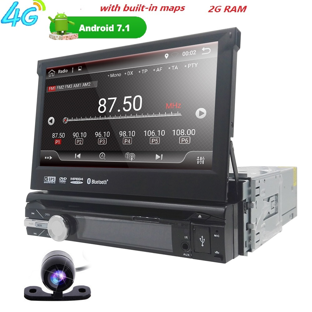 7Universal 1din Android 7.1 Quad Core Car DVD player GPS Wifi BT Radio multimeia 2GB RAM ROM16GB 4G Network Steering wheel RDS 10 1 tda7851 android 7 1 for hyundai ix35 tucson 2015 2016 2017 2gb ram car dvd player gps map rds radio wifi 4g bluetooth 4 0
