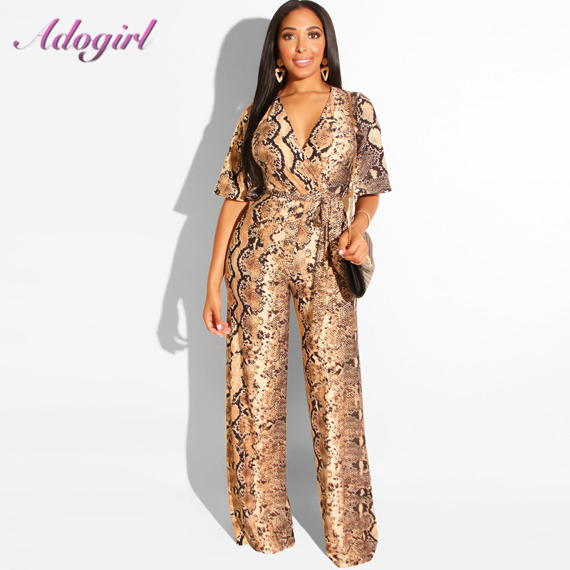 Sexy Snake Print Strapless Night Party Club Jumpsuit Women Summer Casual Deep V Neck Short Sleeve Rompers Female Overalls Outfit 1
