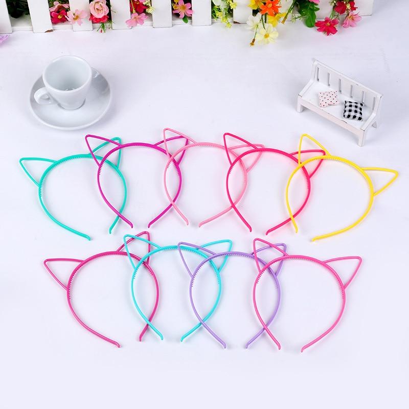 10Pcs Cute Kids Girl's Soft Solid Candy Colour Cat Ear Headband Washing Face Hair Band