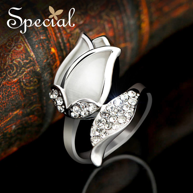 Lovely Special Gifts For Women Part - 9: Special New Fashion Flower Rings Opal Stone Engagement Ring Girls Wedding  Rings Gifts For Women Girls