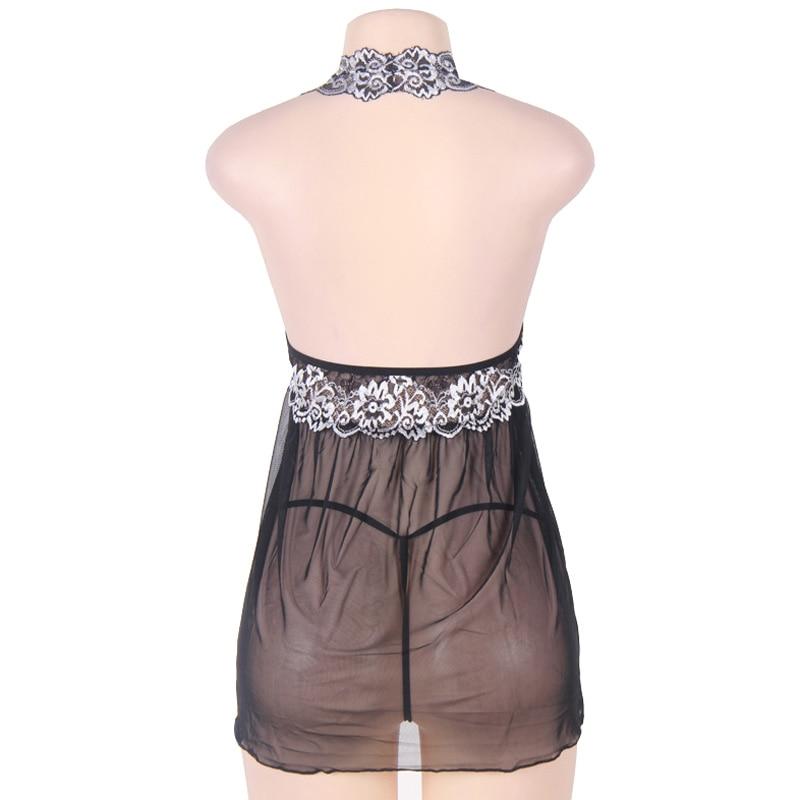 Plus Size Sexy Lingerie Women See Through Mesh Mini Dress Female Babydoll Lady Erotic Underwear Chemise Sleepdress Big Size 5XL