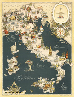 Creative Map Of Italy Fine Foods Handpainted Mediterranean Style Restaurant Wall Decorative Hanging Canvas Paintings Pictures