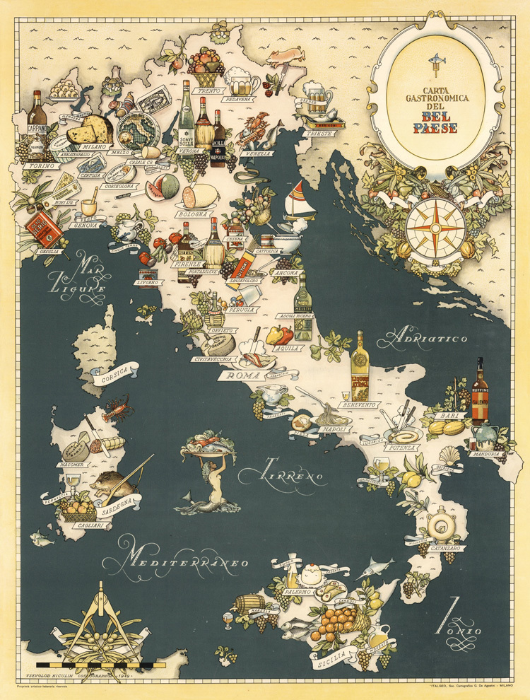 Creative Map Of Italy Fine Foods Handpainted Mediterranean