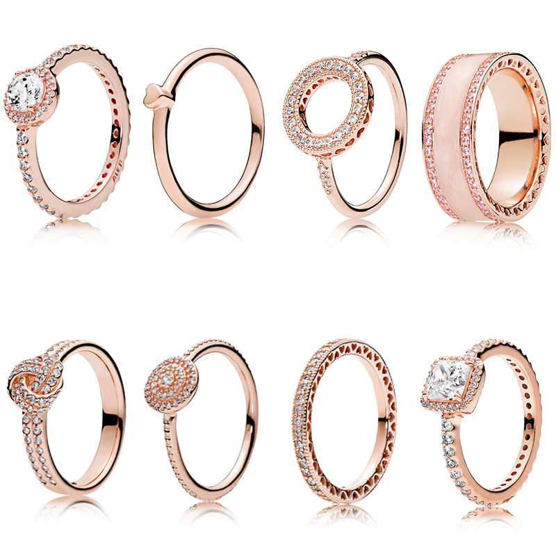 8 Style 1 Pcs Women 925 Sterling Silver Rings Jewelry Rose Gold Color Heart Crystal Style Ring For Women Jewelry