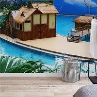 מותאם אישית 3d ציור קיר 3D עננים לבנים שמיים כחולים האיים המלדיביים תיירות ציור קיר ציור קיר טפט רקע וילה מלון בריכת שחייה