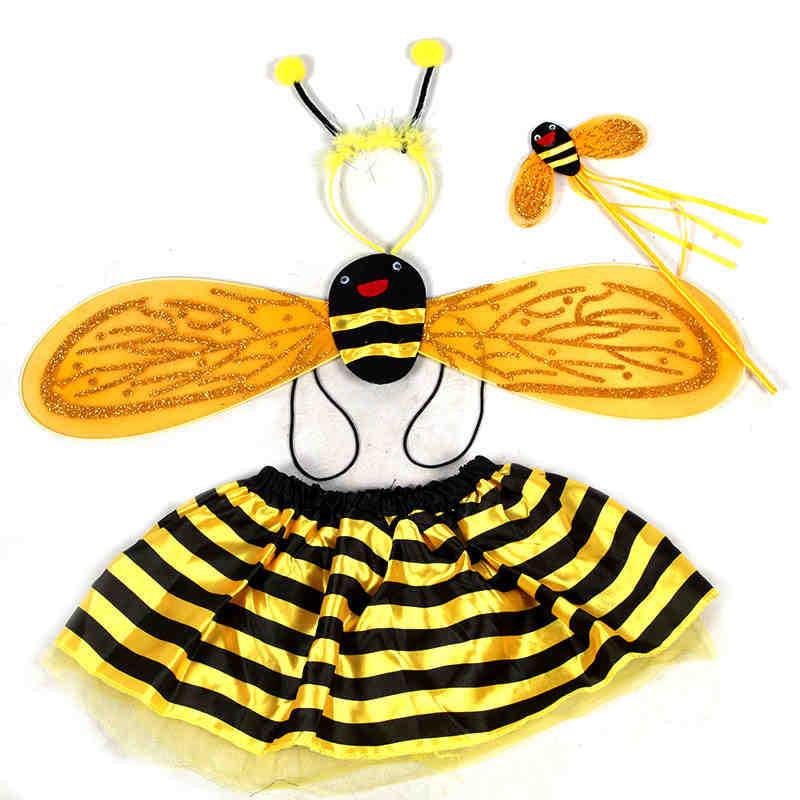 4Pcs/Set Halloween Children Cute Bee Costumes Baby Ladybug Cosplay Costume For Kids Fairly Party Dresses For Girls age 1-3Y