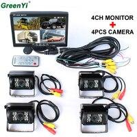 Акция! DC 12 В/24 В 7 ЖК дисплей 4CH видео вход автомобиля видео монитор с 4 шт. заднего вида камера 6 Режим Дисплей для Караван грузовиков Vans