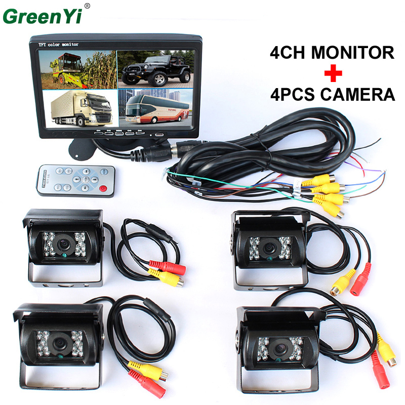 Promotion! DC 12V/24V 7 LCD 4CH Video input Car Video Monitor With 4 Pcs Rear View Camera 6 Mode Display For Truck Caravan Vans