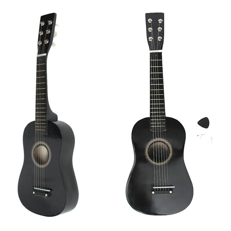 Zebra 23 ''6 Saiten Schwarz Basswoodfurnierholz Acoustic Bass Guitar Guitarra Musikinstrument Ukulele Für Kinder + Plektrum + String