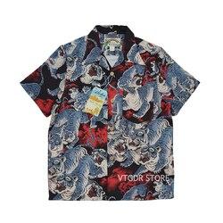 Мужская гавайская рубашка BOB DONG, с короткими рукавами, сто тигров, тропическая, Aloha