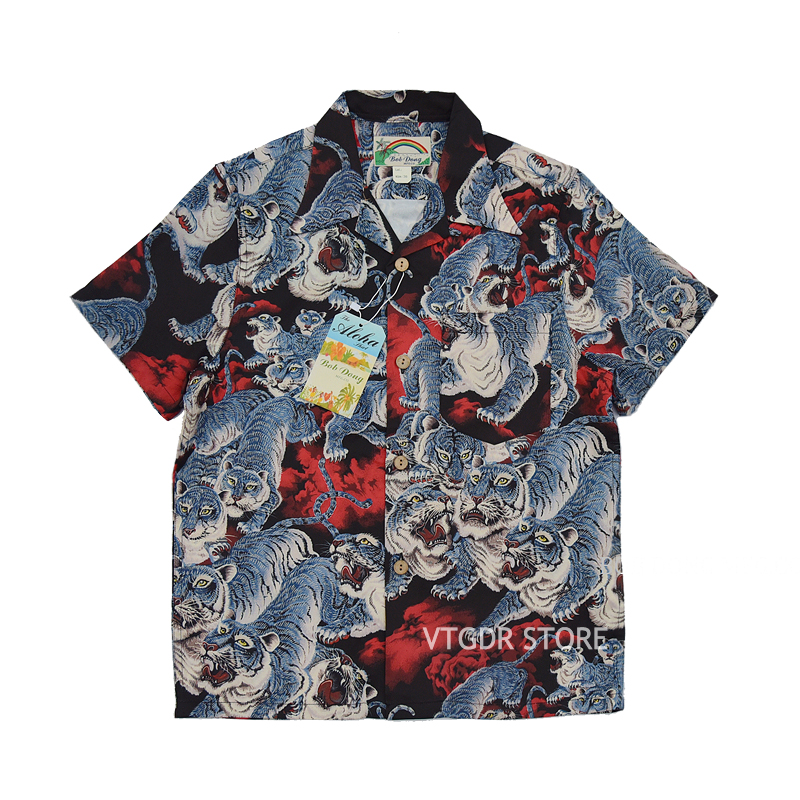 BOB DONG One Hundred Tigers Hawaiian Shirts Men Tropical Aloha Short Sleeve