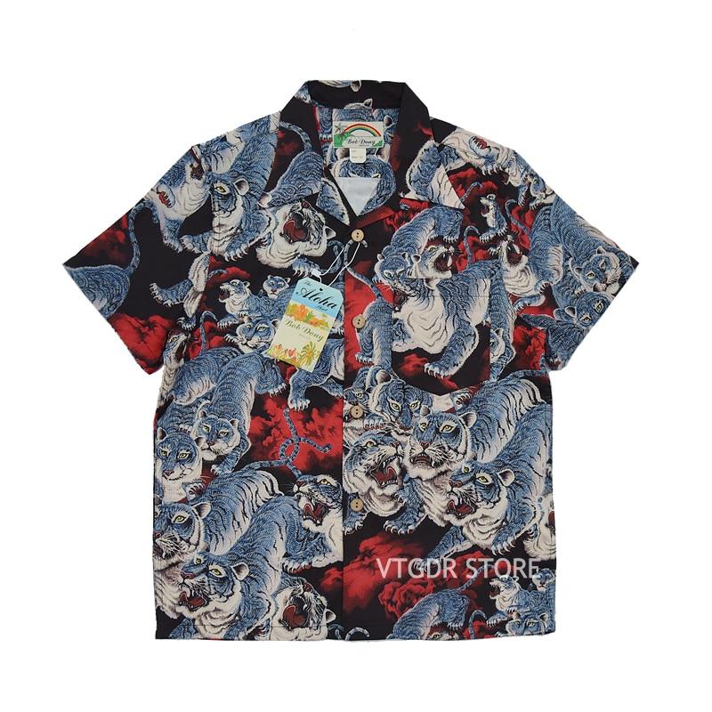 BOB DONG One Hundred Tigers Hawaiian Shirts Men Tropical Aloha Short Sleeve