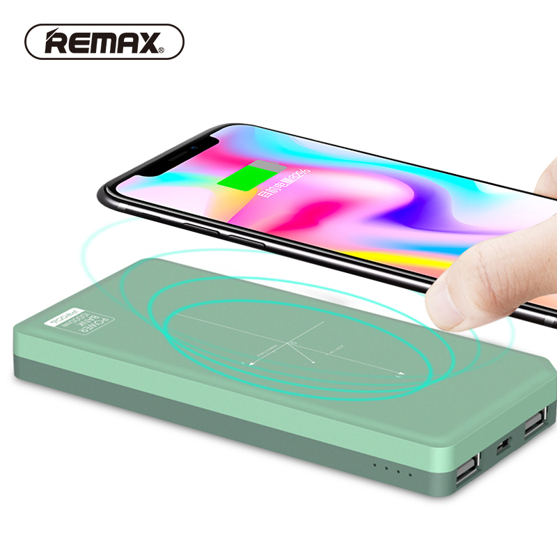 REMAX QI 5W Pad Wireless Charger Power Bank 10000mah Portable External Battery 2 USB Ports Powerbank for Iphone X 8/Samsung S8