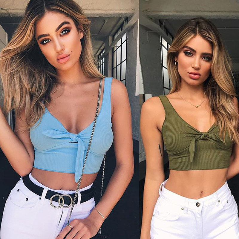 Summer Bow Lace Up Knitted Cropped Tank Top Women Fitness Bandage Sleeveless Short Top Sexy Camisole Female Beach Strappy Bra