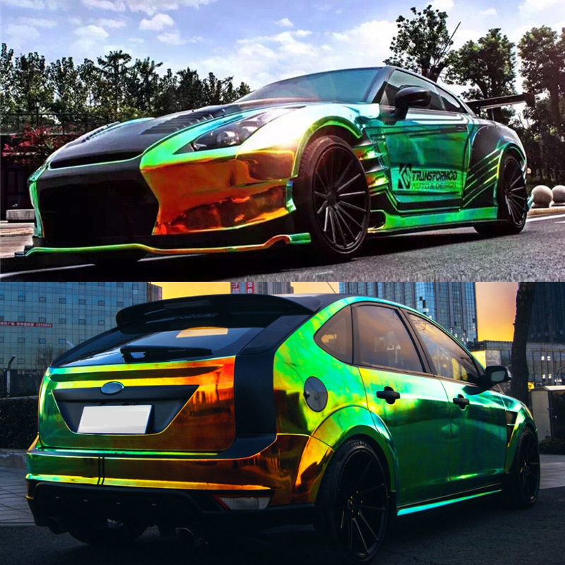 Chrome Holographic Wrap Rainbow Vinyl film Chrome laser Vinyl car sticker with air free bubble Import glue 5sheets pack 10cm x 5cm holographic adhesive film fly tying laser rainbow materials sticker film flash tape for fly lure fishing