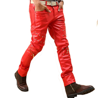Tachonado hip hop punk rock cuero Pantalones hombres Rojo Negro motocicleta pantalones hombres discoteca ropa con cremallera