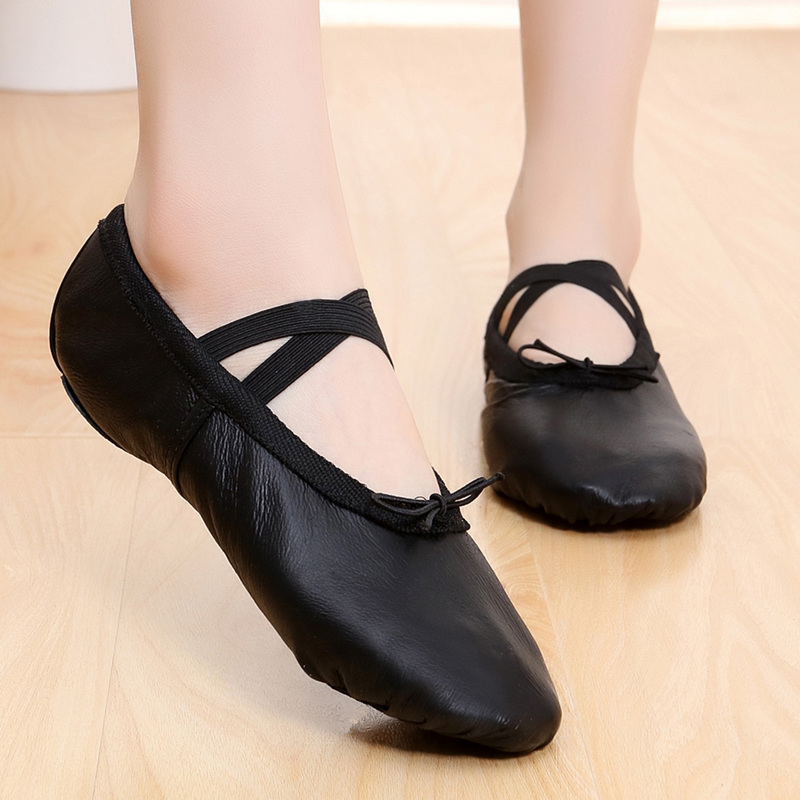 Show details for Women Black Genuine Leather Soft Sole Cat Claw Ballet Practice Dance Shoes Ladies Belly Dance Shoes