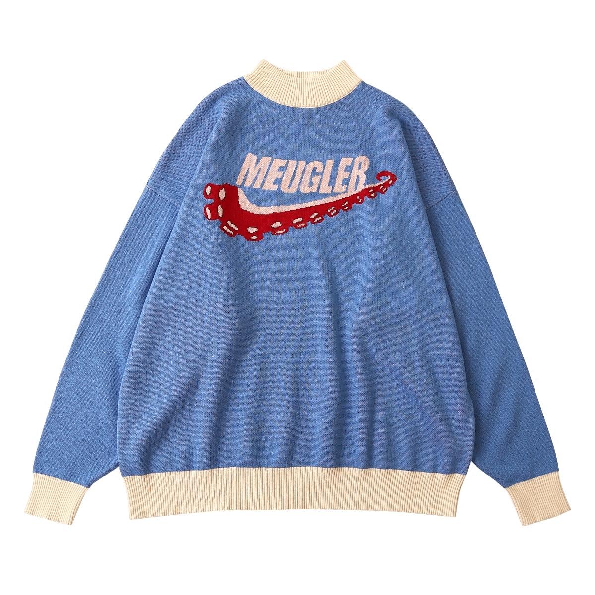 2018 Frühling Vintage Frauen Baumwolle Pullover Buchstaben Octopus Jacquard Oversize Unisex Gestrickte Pullover Top Lässige Strickwaren