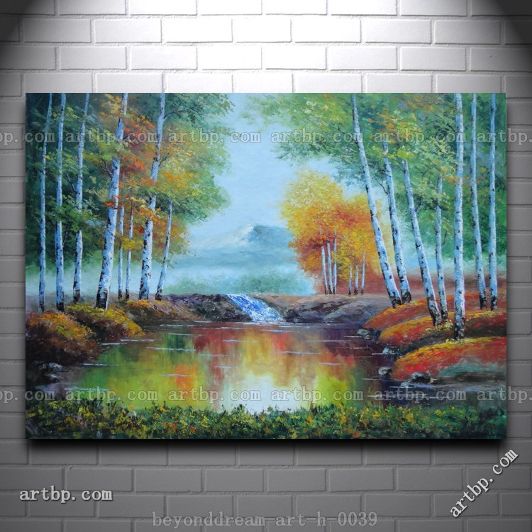Earl autumn colorful trees and small pond small waterfall for 18x27 window