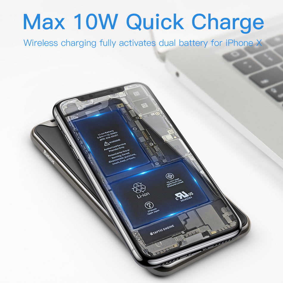 Baseus 10W 3 Coils Wireless Charger For iPhone X/XS Max XR Samsung S9 Note 9 10 Xiaomi Multifunction Qi Wireless Charging pad 2