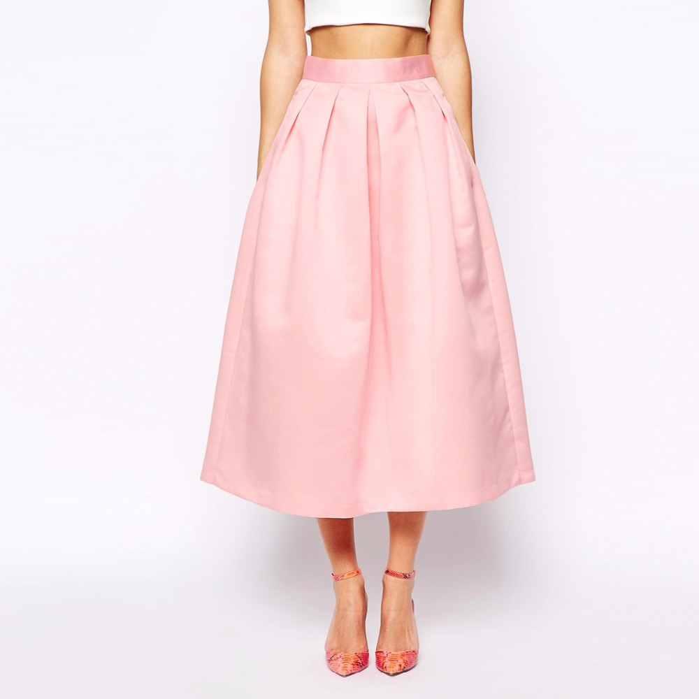 Graceful Blush Pink Satin Skirts 2017 2018 With Pockets A ...