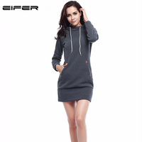 EIFER 2017 Warm Winter High Quality Hooded Dresses Pocket Long Sleeved Casual Mini Dress Sportwear Women