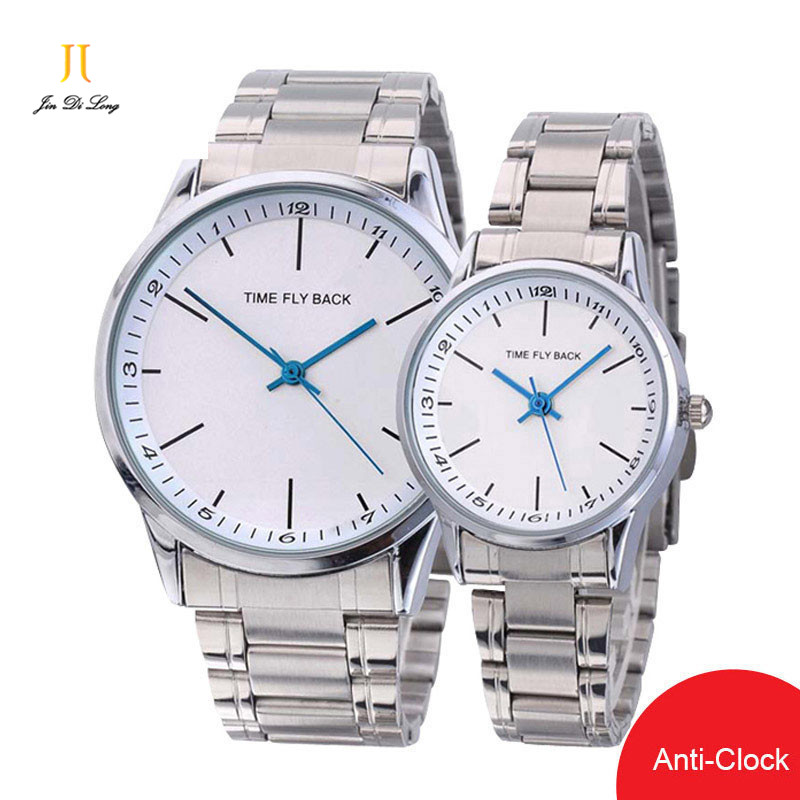Brand Time Story Fashion 1 Pair Lovers Watch Anti Clock Quartz Wristwatches Classic Time Reverse Men