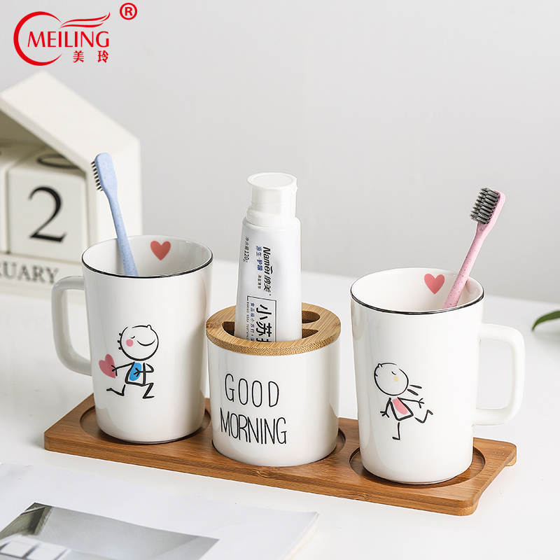 Modern Home Decor Couple Bathroom Accessories Set Ceramic Cute Toothbrush Holder Toothpaste Dispenser Toilet Bamboo Tray Storage image