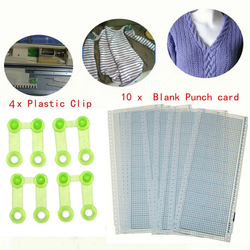 10sheets 24 Stitch Punch Card + 4 Clips For Brother Knitting Machines KH860 KH260 Punch Cards DIY Sweater Hand Crafts Accessory