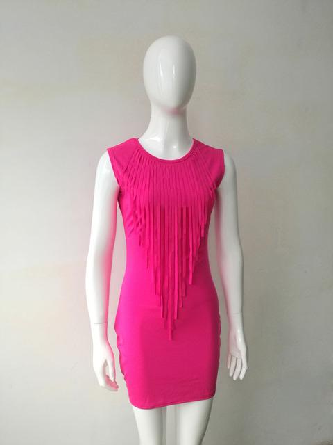 Neon Tassel Women Dress Summer Off Shoulder Sleeveless O-neck Pencil Sexy Night Club Fashion Mini Ladies Dresses