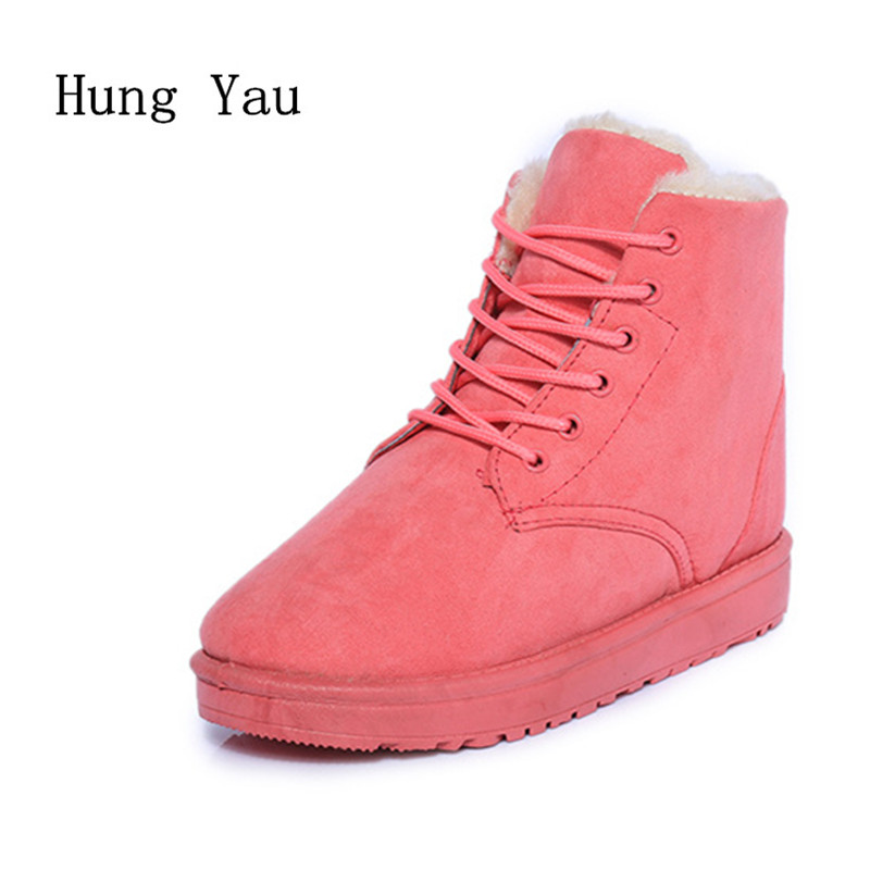Women Snow Ankle Boots 2017 Winter Warm Female Casual Shoes Woman Flat Fashion Lace Up Platform Round Toe Comfortable flat with bow ankle boots shoes style women boots round toe platform snow boots for women fashion flock short outdoor shoes