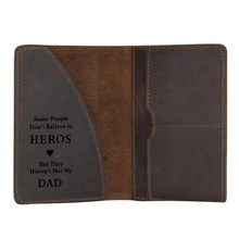 TO Hero DAD Passport Cover cowhide Leather Travel Wallets Functional Credit Card Holder Vintage Passport wallet for father gift(China)