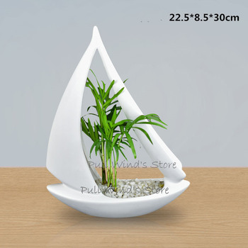 Personalized sailing shape ceramic flower pot Abstract Artists flower Vases Art ceramic  Home Decoration