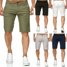 Hot Men Slim Fitness Solid Color Shorts Casual Work Uniform Half Pant Summer Jean Beach Cotton Baggy Trouser Short Pants