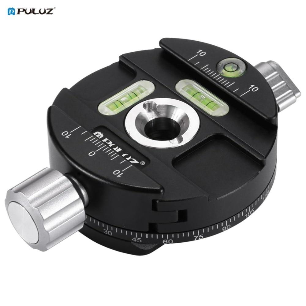 PULUZ alliage d'aluminium 360 degrés Panorama rotule pour caméra trépied tête pivotant Base intégrée 3 niveaux à bulles PU3513