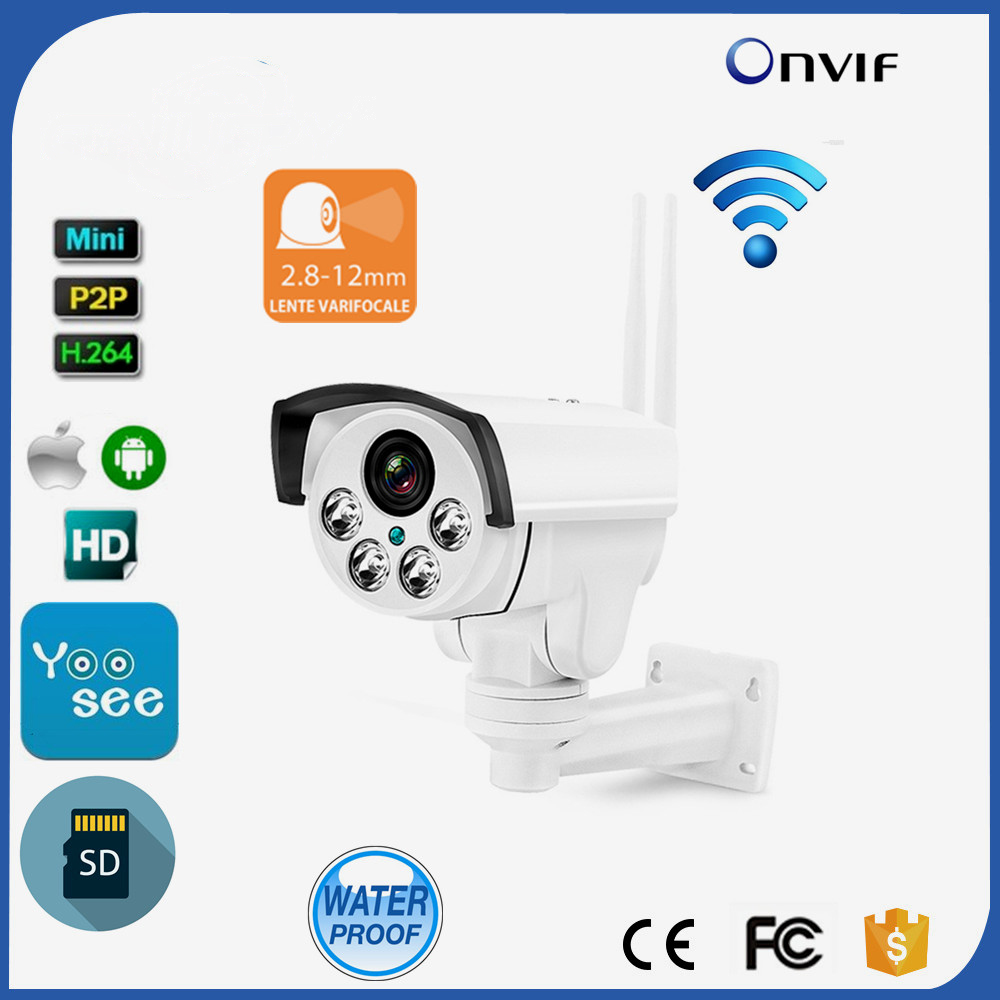 Wireless 1.3MP HD IR Waterproof 4X Optical Zoom Auto Focus PTZ Yoosee Wifi IP Camera Bullet support SD Card With Microphone 2016 outdoor 1080p wifi ptz camera array ir 2 8 12mm lens 4x optical zoom auto focus waterproof speed dome cam support sd card