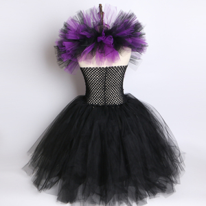 Image 5 - Maleficent Evil Queen Girls Tutu Dress with Horns Halloween Cosplay Witch Costume for Girls Kids Party Dress Children Clothing