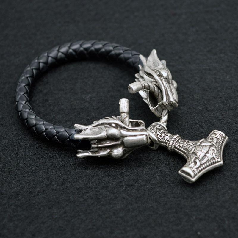 1pcs Norse Viking Dragon Wolf Bracelet With Thor Hammer Mjolnir Bracelet For Men's Birthday Gift Viking Amulet Jewelry BT19