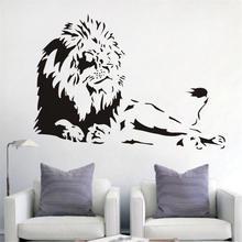 Leão animal leão vinil adesivos de parede decoração para casa sala estar criativo mural arte aplique removível dos desenhos animados adesivo d564
