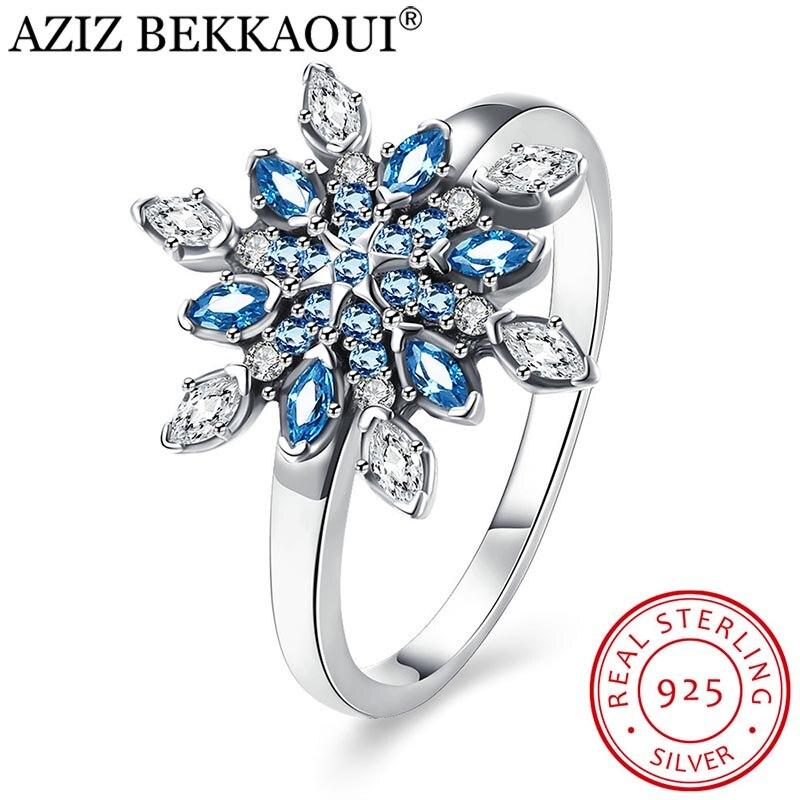 AZIZ BEKKAOUI Blaue Kristalle Schneeflocke Fingerringe für Frauen Weibliche 925 Sterling Silber Fashion Verlobung Hochzeit Ring Schmuck
