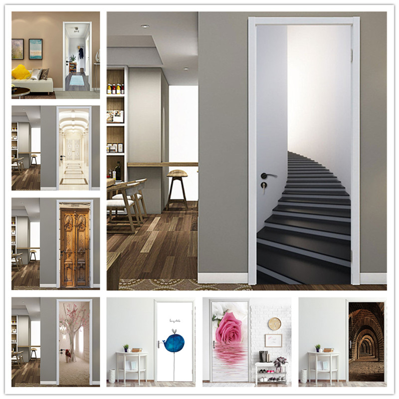 Corner Staircase Door Sticker Of 3D Waterproof Wallpaper On The Door Home Decoration Self Stick Wallpaper For Living Room Decal