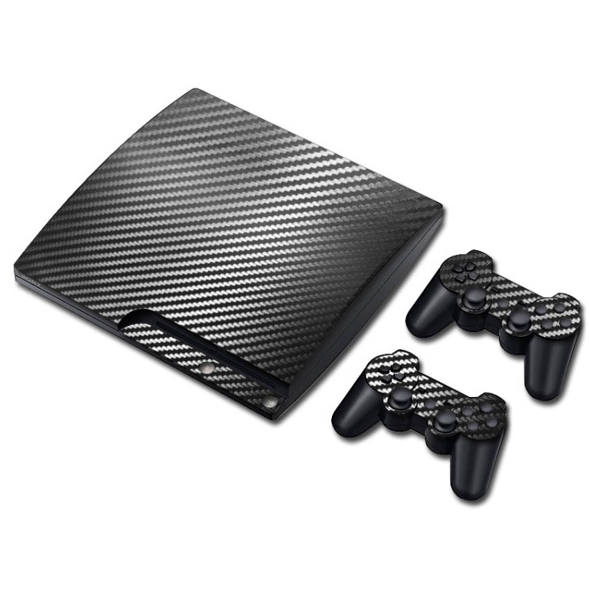 100% New Carbon Fiber Sticker for PS3 Slim and 2 controller skins sticker bomb for PS3 цена и фото