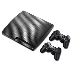 Image 1 - 100% חדש סיבי פחמן מדבקה עבור PS3 Slim ו 2 בקר עורות מדבקת עבור PS3