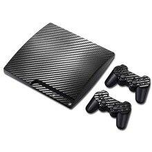 100% nouveau autocollant en Fiber de carbone pour PS3 Slim et 2 autocollants de peaux de contrôleur pour PS3