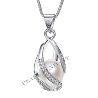 2017 Sale 100 Natural Freshwater Pearl Necklace Pendant 925 Sterling Silver Jewelry Zircon Best Gifts For