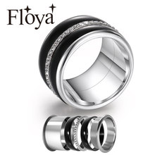 Floya Interchangeable Arctic Symphony Rings Engagement Band For Women Classical Stainless Steel Original Lovers Ring Bijoux(China)